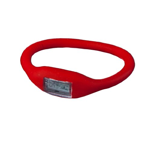 YKS New Silicone Rubber Jelly Ion Sports Bracelet Wrist Watch (red)