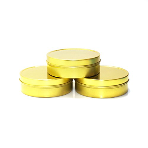 Mimi Pack 8 oz Tins 24 Pack of Shallow Slip Top Round Tin Containers with Lids For Cosmetics, Party Favors, Gifts and Food Storage (Gold)