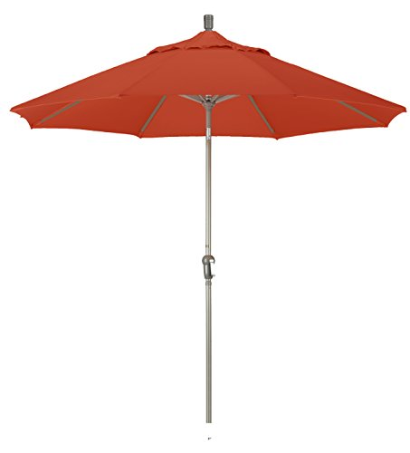 California Umbrella 9-feet Olefin Fabric Aluminum Auto Tilt Market Umbrella with Champagne Pole, Terracotta