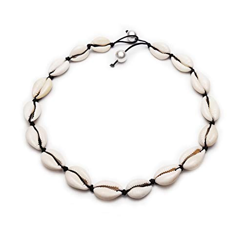 Black Rope Chain Natural Seashell Pearl Choker Necklace Collar Necklace Shell Choker Necklace for Summer Beach Gift