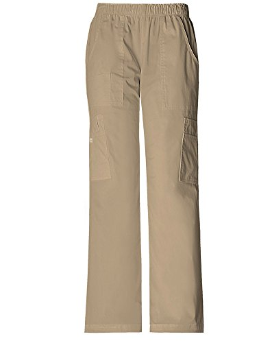 Cherokee WorkWear 4005 Women's Mid-Rise Pull-On Pant Cargo Pant Dark Khaki XX-Large
