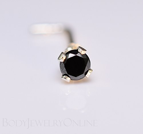 10ead12fd Amazon.com: Genuine BLACK DIAMOND Nose Stud 2mm - Post w/ 14k Solid Yellow  or White Gold or Sterling Silver - Helix Tragus Lobe Lip Cartilage: Handmade