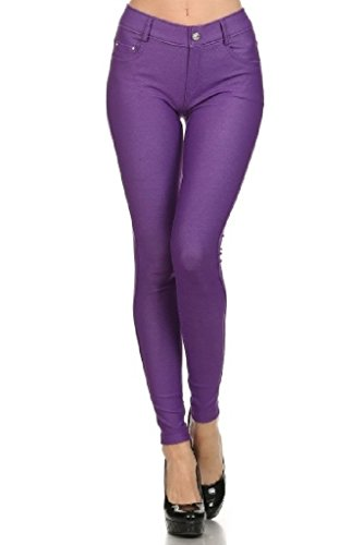 Yelete Womens Basic Five Pocket Stretch Jegging Tights Pants, Purple, - Purple Pants Stretch