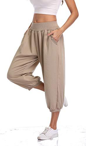 PEIQI Comfy Loose Casual Pants Women Joggers Pants Sweatpants Crop Pants Lounge Yoga Capri Pants Relax Fit Khaki X-Large
