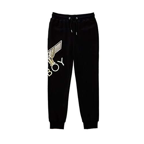 BOY London Unisex (S,M,L,XL) Eagle Artwork Cross Printed Jogger-Black-Gold,Black-White New_(BG3PL042) (Black-Gold, Small) by BOY London