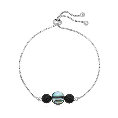 SENFAI Black Lava Rock Abalone Shell Beaded Charming Bracelet Hand Accessory for Women Adjustable 10