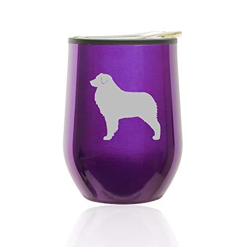 Stemless Wine Tumbler Coffee Travel Mug Glass with Lid Australian Shepherd (Royal Purple)