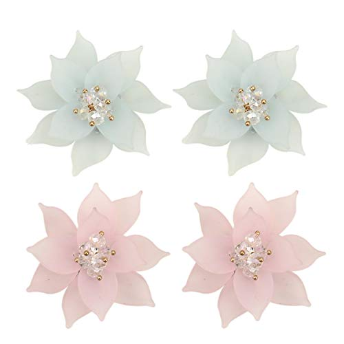 JETEHO 2 Pairs Flower Charms Acrylic Flower Beads for DIY Butterfly Wings Jewelry Charms Earring Findings Crafts Hair Clip Decoration