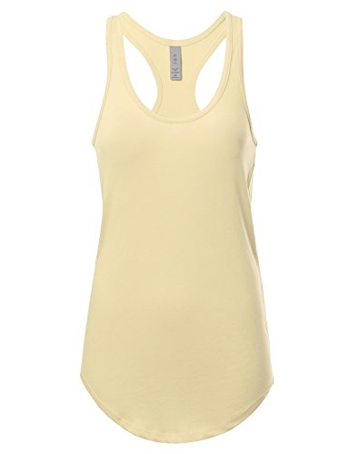 Women's Basic Solid Jersey Racer Back Tank Top with Scallop Bottom S Vintage White Ivory