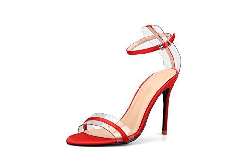 de 8CM tacon Tacones De Sandalias Sandalias JUWOJIA Vestir Mujer Verano Finos Rojo zPaZnTqv