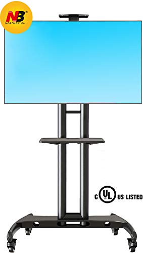 North Bayou Mobile TV Cart TV Stand with Wheels for 32 to 65 Inch LCD LED OLED Plasma Flat Panel Screens up to 100lbs AVA1500-60-1P (Black) -