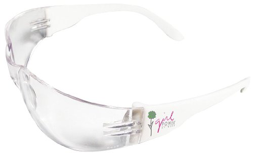 ERB Safety 17750 Lucy Safety Glasses, Frame, Clear Anti-Fog Lens - Girl Power Logo on Temple, Plastic, One Size, - Online Glasses Power