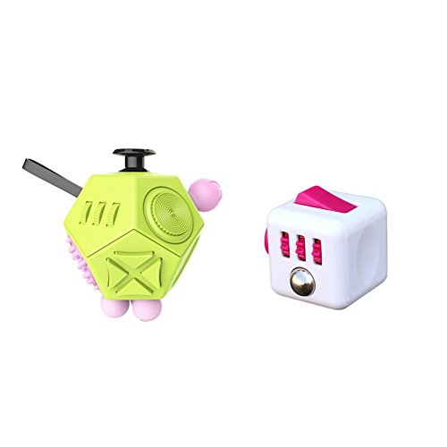 2 Pcs Fidget Dice II and Dice I 12 Sides Fidget Cube and Fidget cube - Stress Anxiety and Boredom Relief Weeambo Anti-anxiety and Depression Toys for Children and Adults (Green-White/Pink)