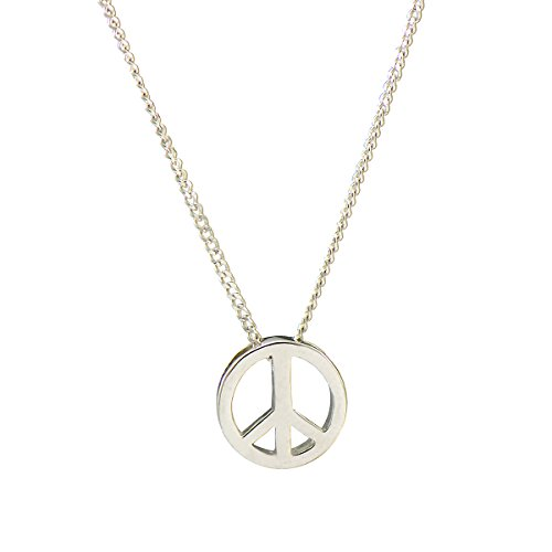 Paialco 925 Sterling Silver Peace Sign Pendant Necklace 16+2 Inches