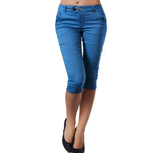 Clearance Sale! Women Pants Wintialy Fashion Women Plus Size Solid Button Zipper Casual Pants Calf-Length Trousers