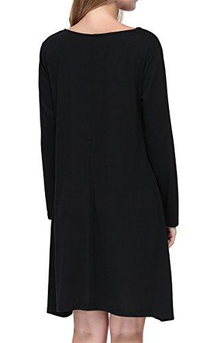 lache Blouse Tee Noir3 irrgulier Shirt dcontract t Ronde Courte Ourlet Manche col mioim Femme vqRx05U