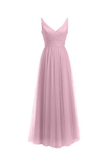Neck V Dresses Party Womens Prom Gowns Long Tulle Blush Applique Evening ALAGIRLS EqC5w