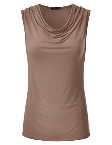 (EIMIN Women's Cowl Neck Ruched Draped Sleeveless Stretchy Blouse Tank Top Mocha 1XL)