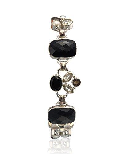aarohee en argent sterling et pierre onyx perle simple Mèche pour femme aau119