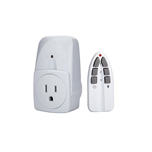 NSi Industries TORK SA500 Indoor Wireless Remote Control Outlet for Lamps and Appliances - 3 Channels for Independent Room Control - Compatible with Incandescent/Compact Fluorescent/LED - Features 1 Outlet Receptacle