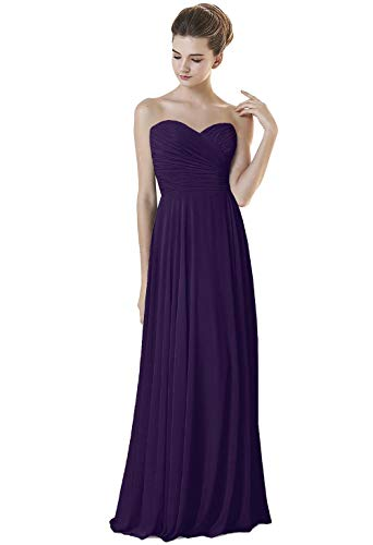 Price comparison product image ANGELWARDROBE Floor Length Sweetheart Neck Bridesmaid Dresses Evening Prom Wedding Party Skirt-Cadbury Purple-16