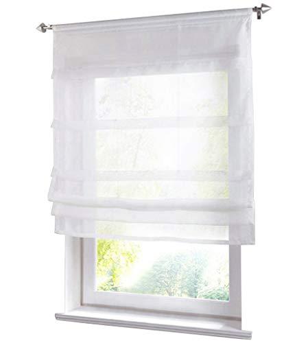 (86 York Liftable Organza Kitchen Balcony Curtains,Tie-Up Rod Pocket Roman Window Shades Sheer Voilet Window Vanlance 1 Panel)