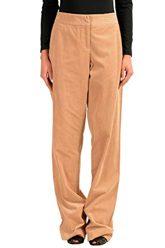 John Galliano Women's Beige Corduroy Cashmere Casual Wide Leg Pants US 10 IT 46