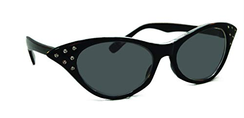 Hip Hop 50s Shop Womens Cat Eye Rhinestone Glasses (Black-SUN, black)