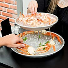 American Metalcraft 2 Tier Seafood Tower Set with Large Aluminum Trays and - Tier Stand Aluminum