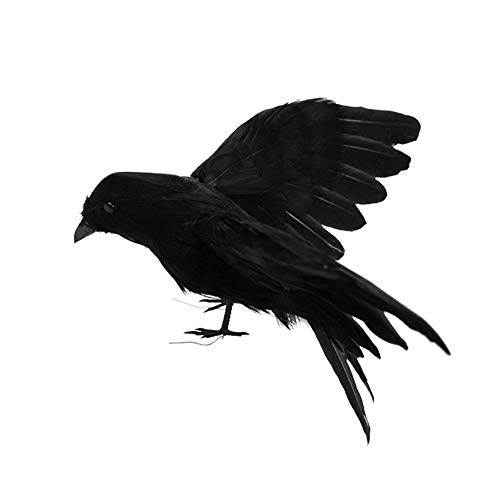 Delaman Feathered Crows Realistic Looking Raven, Birds Black Feathered Crows, Halloween Prop Décor,Spooky Party Home Decor (Color : #3)]()