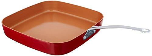 (Red Copper Cookware 10- and 12-Inch Square Frying Pan Set of 2 by BulbHead)