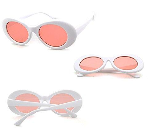 Mod Red pour les Clout lunettes épais de lunettes de Bold Oval FOURCHEN Retro rondes soleil femmes White homme Lunettes soleil Lens vqpxwURt