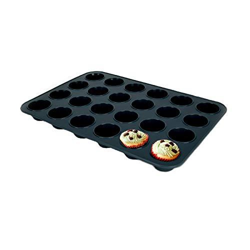 Mini muffinvorm van siliconen voor 24 muffins, anti-aanbaklaag, bakvorm voor mini cupcakes, brownies, cake, pudding, 34…