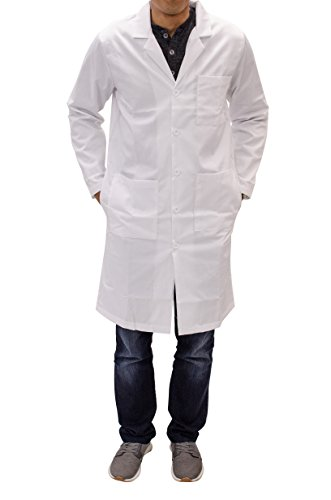 CollegeWear, Inc. Unisex Long White Lab Coat - Chemistry, Biology, Organic Chem, Science Student Lab - Womens Coat Lab Long