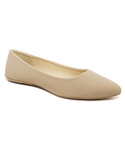 Charles Albert Women's Casual Pointed Toe Ballet Comfort Soft Slip On Flats Shoes (8, Light (Light Brown Suede Footwear)