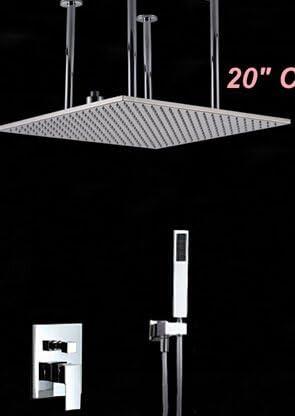 """ZY-YY 蛇口卸売小売20"""" は天井スクエアレインシャワーヘッドクローム仕上げのシャワーの蛇口ハンドスプレー2つの方法のミキサーのタップ、白をマウント"""