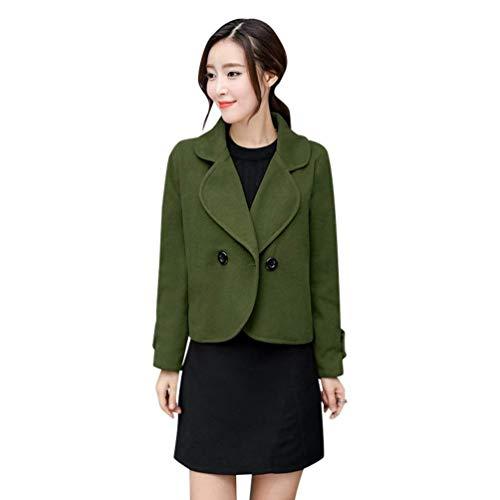 Manteau Femme Printemps Automne Court Coat Mode Elgante Vintage Costume Classique Double Boutonnage Blouson Couleur Unie Manches Longues Revers Slim Fit Outerwear Grn