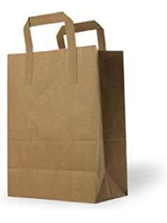 Bolsas de papel plegables con manijas planas - Grande: 25 cm ...