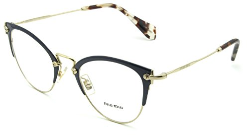 Discount Eyeglass Frames - Miu Miu 50QV Women Metal Cat-Eye Eyeglasses Prescription RX Frame VYH1O1-52mm