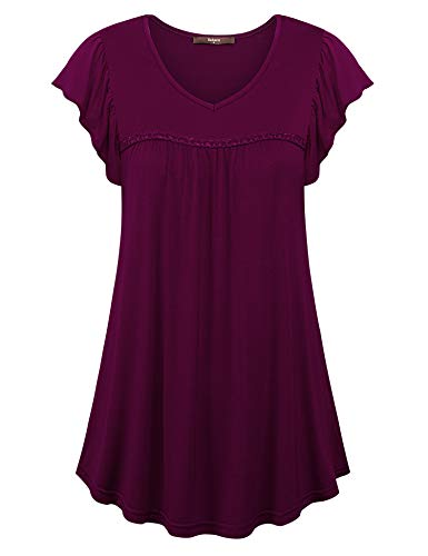 Gaharu Women Tunic Tops for Leggings Petites Flowy Office Shirts Ruched Sleeve Comfy Stretch Dressy Blouse Tunic to wear with Leggings Dark Red,XL