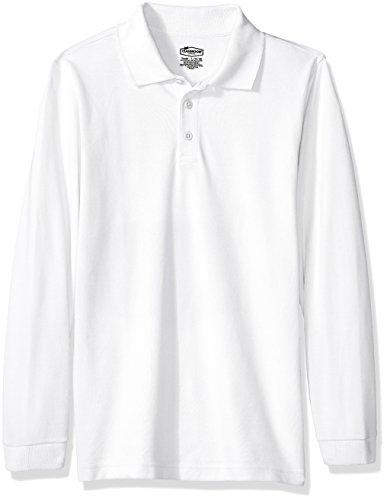 Classroom Big Kids Boys' Uniform Long Sleeve Pique Polo, Sos White, L by Classroom Uniforms (Image #1)