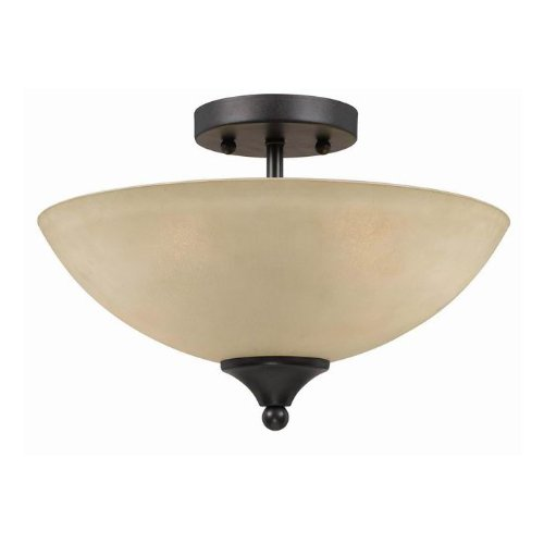(Triarch International 33241 Value Series 240 Collection 2-Light Semi-Flush, English Bronze with Antique Cognac Painted Glass)