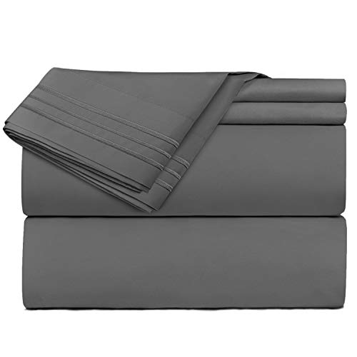 Nestl Bedding 4 Piece Sheet Set - 1800 Deep Pocket Bed Sheet Set - Hotel Luxury Double Brushed Microfiber Sheets - Deep Pocket Fitted Sheet, Flat Sheet, Pillow Cases, Flex-Top King - Gray -