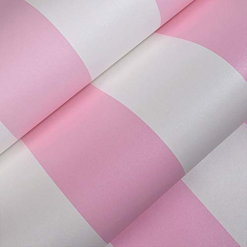 (BAIF Self-Adhesive Waterproof Wallpaper Modern Simple Stripes Children Room Living Room Bedroom Environmental Protection Home Renovation Wall Stickers (Color : Pink))