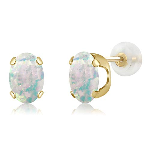 Gem Stone King 2.10 Ct Oval Cabochon 8x6mm White Simulated Opal 14K Yellow Gold Stud Earrings