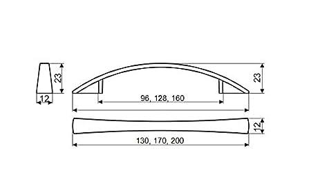 pack de 10 unidades//Tiradores para cocina ba/ño o cualquier armario. N/íquel cepillado CC 160 Tirador UN37