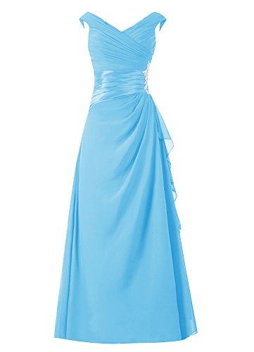 robe col en mre d'honneur sans manches robe de demoiselle V de marie de de Bleu soire robe longue Dresstells Pw7tdP