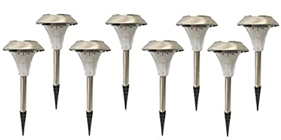 Set of 8 Outdoor Garden Solar Power Landscape Path Lights - Stainless Steel