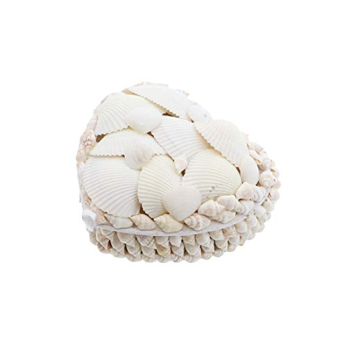 Li'Shay White Seashell Covered Jewelry Trinket Box Treasure Box - 4 Inch - Heart