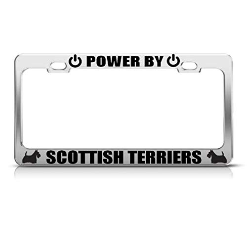 zhangjialicense Powered by Scottish Terriers Aluminum License Plate Frame Tag Border Aluminum Screws and 2 Holes